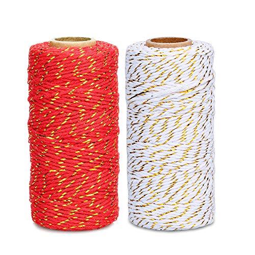 Cuerda de algodón artesanal de 200 m, 2 mm, color rojo y blanco, para envolver regalos (100 m de cuerda roja y dorada+100 m de cuerda blanca y dorada)