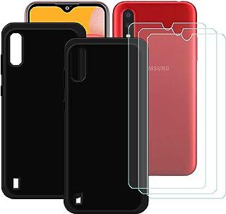 TTJ [2 st. svart fodral för Samsung Galaxy M01S [3 stycken] HD pansarglas, mobiltelefonfodral silikon skyddande fodral TPU...
