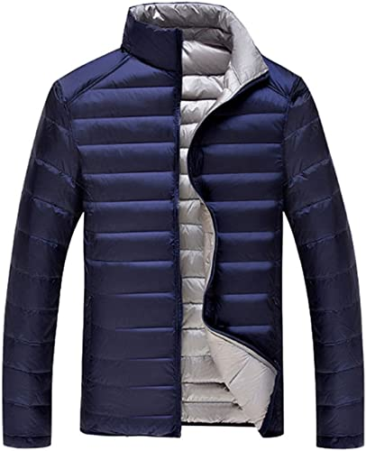Deylaying Hommes Réversible Poids léger Imperméable Pardessus Parka Doudoune Outwear Grande Taille des Sports