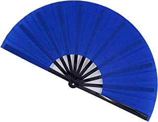 STHUAHE Large Folding Fans Rave Hand Fans Festival Fans for Women Men, Chinese Japanes Bamboo Fan Hand Held Folding Fan for Music Festival, EDM, Performance, Gifts, Party, Decoration (Blue)