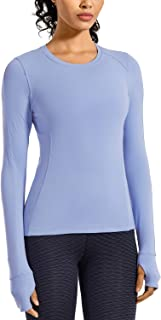 CRZ YOGA Women's Long Sleeve Running Shirt Athletic Workout Top with Thumb Holes