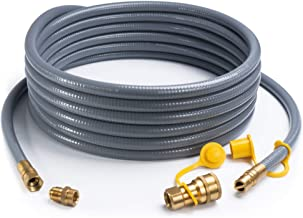 SHINESTAR 24 Feet 1/2-inch ID Natural Gas Hose with Quick Connect/Disconnect Fittings & 3/8 Female to 1/2 Male Adapter for Fire Pit, Generator, Patio Heater, Pizza Oven, Grill