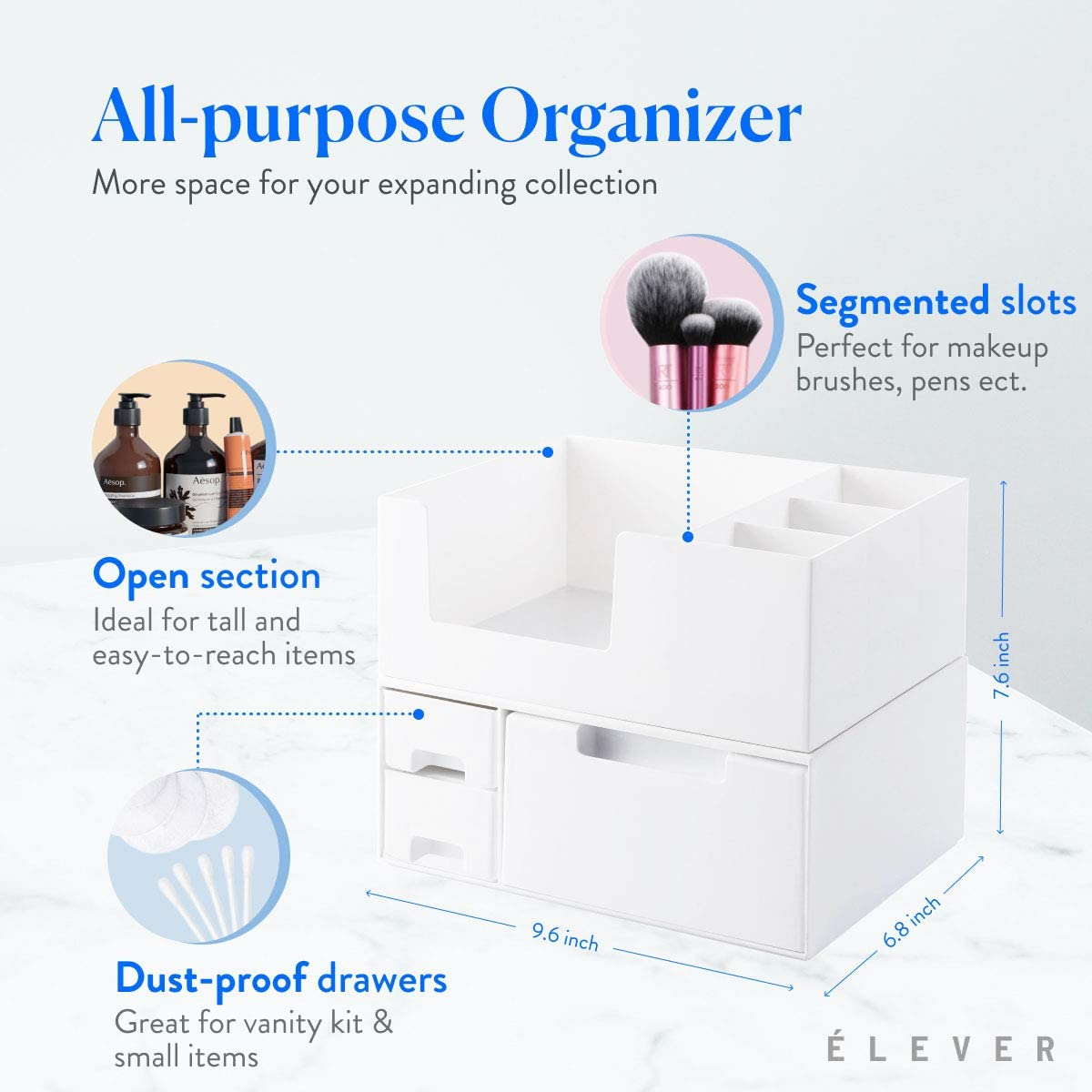 White Makeup Organizer For Vanity Organizers And Storage, Make Up Organizator With Drawers, Organizador De Maquillaje Skincare Organizers And Cosmetics Organizer Display Cases Make Up Organizer Stands : Beauty & Personal Care