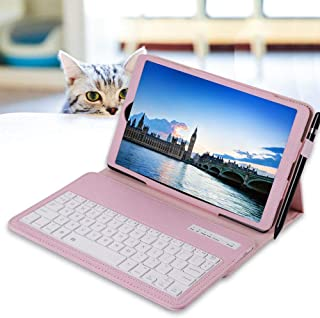 REAL-EAGLE Galaxy Tab A 10.1 2019 Keyboard Case(SM-T510/T515, 2019 Version), PU Leather Case Cover with Detachable Wireless Keyboard for Samsung Galaxy Tab A 10.1 Inch 2019, SM-T510 SM-T515, Pink