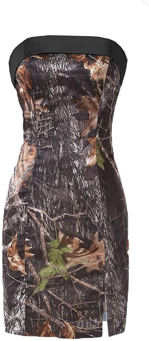 DINGZAN Strapless Sheath Pageant Cocktail Prom Dress for Bridesmaid Camo