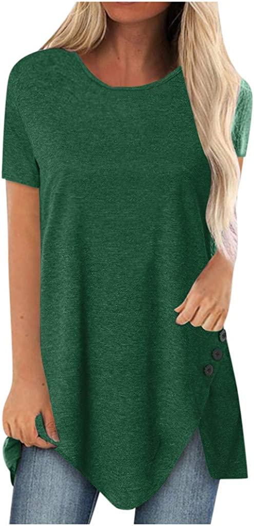 AODONG Tee Shirts for Women Loose Fit Fashion Plus Size Print V Neck Short Sleeved Tops Loose Flowy Blouses Shirts