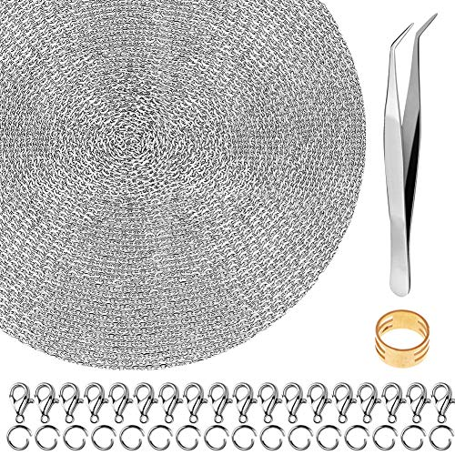 Necklace for Jewelry Making, Anezus 50 Feet Jewelry Chain Necklace Chains 2.0mm Silver Stainless Steel Chain with 100 Jump Rings 30 Lobster Clasps for Jewelry Making Jewelry Chain DIY Making