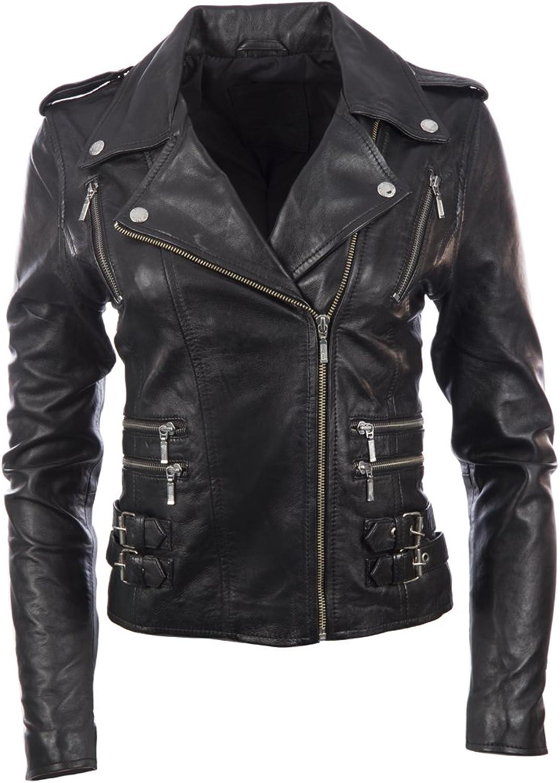 Women's SUPER SOFT REAL Leather Asymmetric Multi Zip Fitted BIKER Jacket by MDK