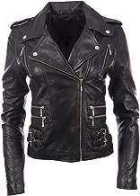 MDK Women's Super Soft Real Leather Asymmetric Multi Zip Fitted Biker Jacket by