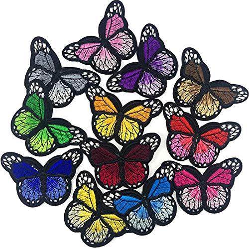 Meetlight Parches para planchar con diseño de mariposas bordadas para reparación de...