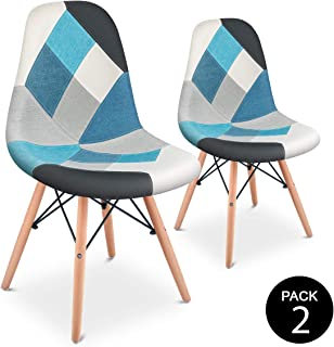 Mc Haus SENA Patchwork - Pack 2 Sillas comedor vintage patchwork tower multicolor azul diseño tapizado sillas salon estilo...