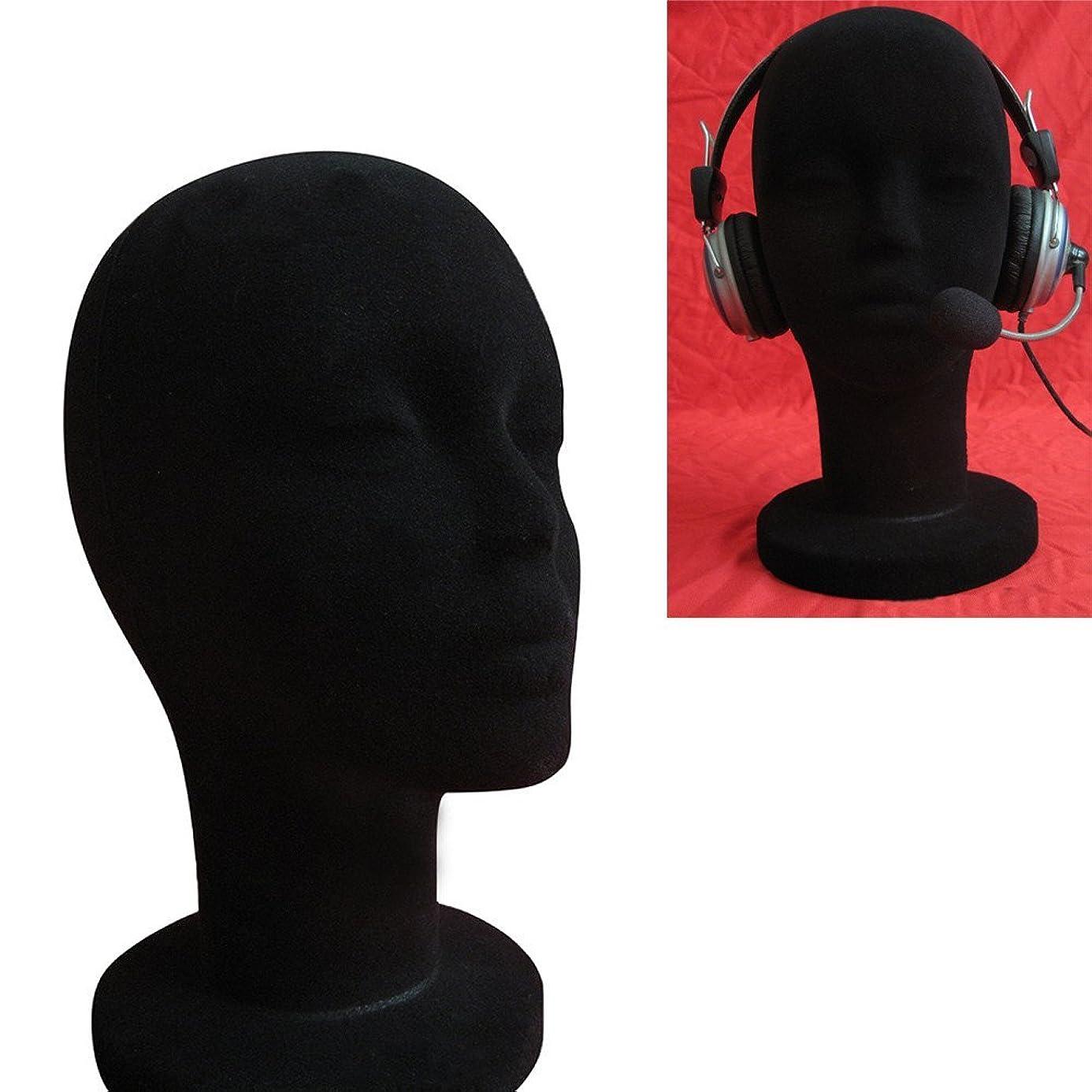 ??Jonerytime??Female Styrofoam Foam Flocking Head Model Wig Glasses Display Stand Black