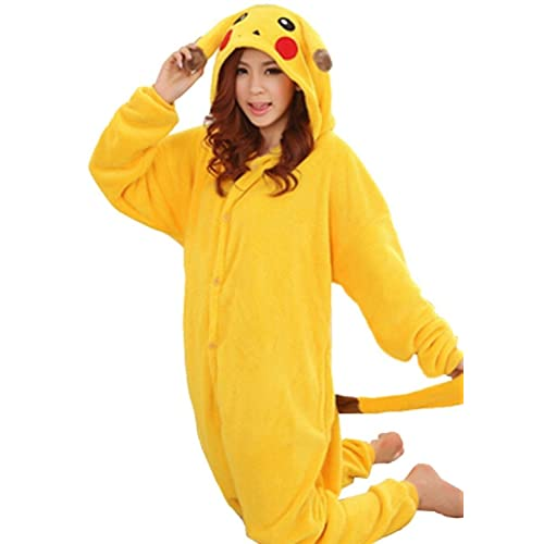 1d6627b2fe0a WOWcucos Unisex Adult Pikachu Onesies Animal Cosplay Costume Halloween Xmas  Pajamas