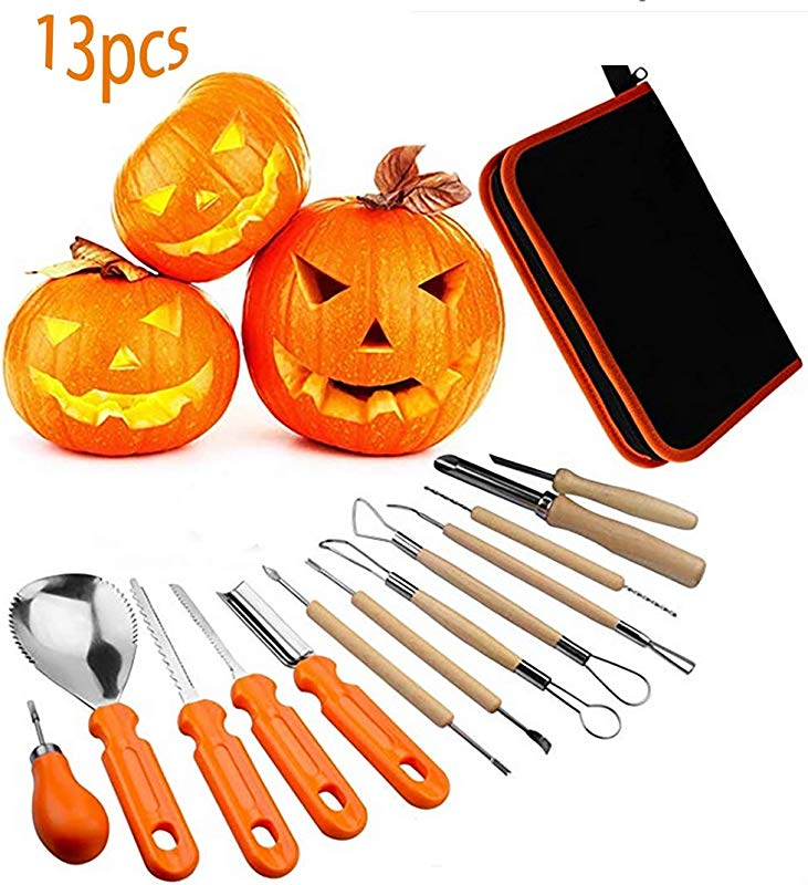 Halloween Pumpkin Carving Sets Lomanda 13Pcs Stainless Steel Pumpkin Carving Kits Pumpkin Halloween Manual Carving Tools Lengthening And Thickening Crafts With Zipper Bag