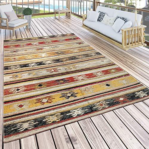 Paco Home In- & Outdoor Teppich Modern Jelle Print Terrassen Teppich Gelb, Grösse:160x220 cm