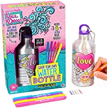 Just My Style Your Decor Color Your Own Water Bottle by Horizon Group USA, DIY Bottle Coloring Craft Kit, BPA Free, Personalize & Decorate Using Colorful Markers & Gemstones
