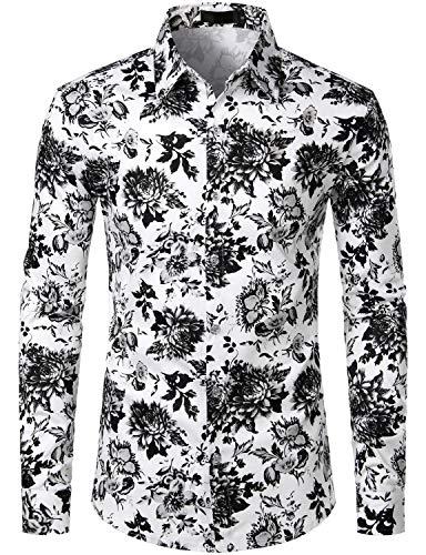 ZEROYAA Men's Hipster Black Design Casual Slim Fit Long Sleeve Button Down Floral Shirt ZLCL04-108-Black Medium