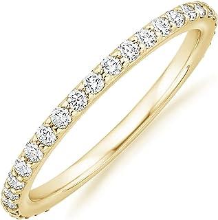 PAVOI 14K الذهب مطلي مكعب زركونيا الماس خواتم إترنة قابلة للتكديس للنساء