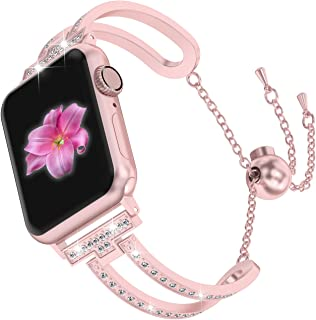 Wearlizer Rose Gold Compatible with Apple Watch Band 38mm 40mm Womens iWatch Bling Jewelry U-Type Dressy Wristband Steel with Rhinestone Bangle Replacement Strap Metal Bracelet Chain Series 4 3 2 1