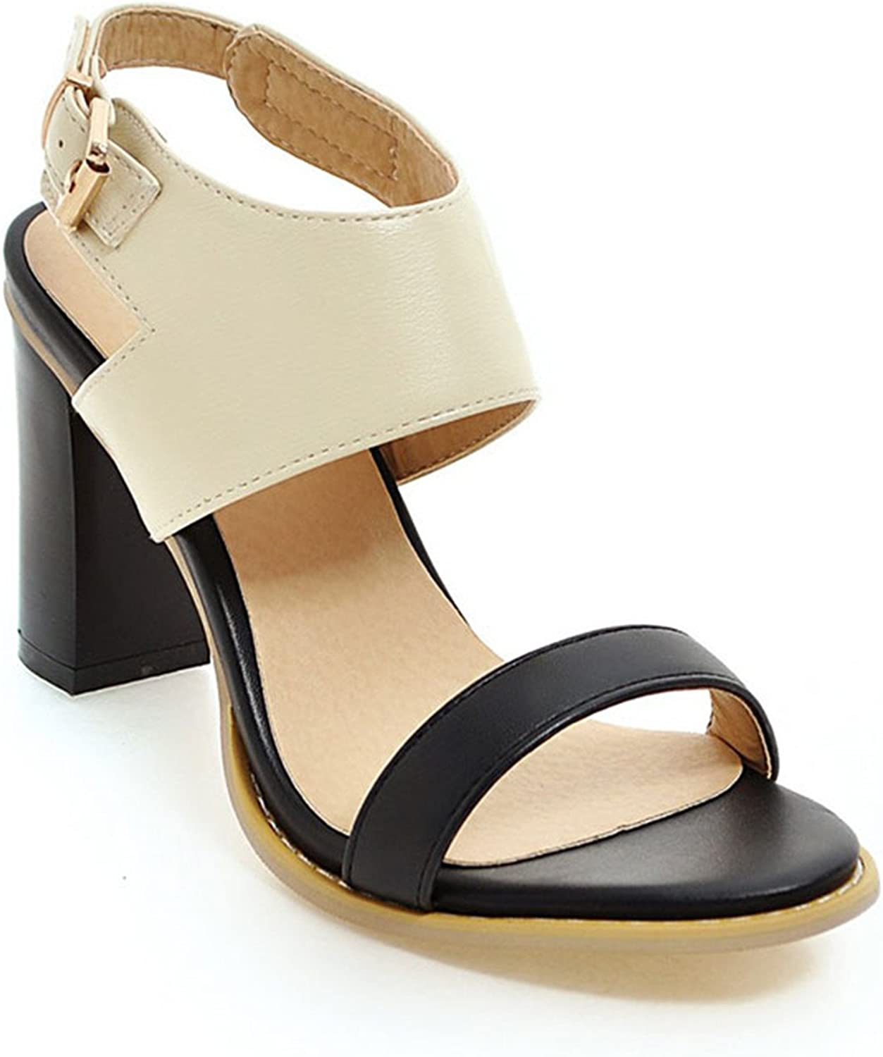 Karl Conner Women Sandals Super High Heels Mixed colors Ankle Strap Thick Heels