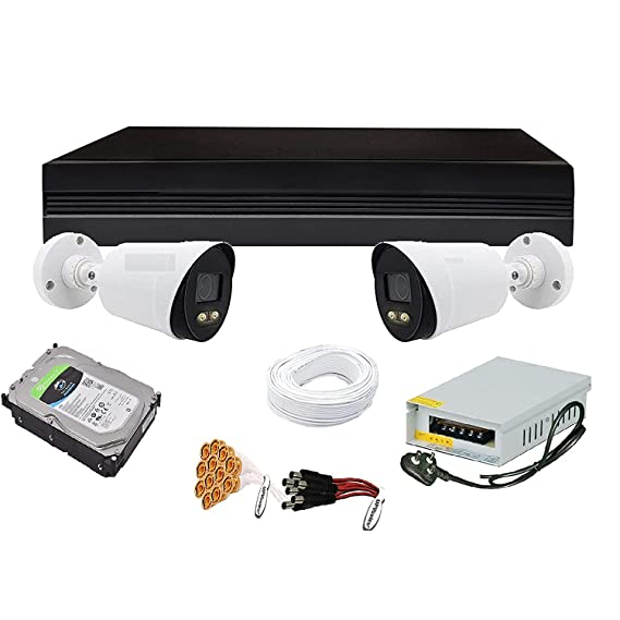 CP Plus 2.4 MP Guard+ Colorful Vision in Night 2 Bullete Camera Combo Kit with (4Ch DVR, 2 Bullet Cameras, 1 TB HDD, Power Supply, CCTV Cable Bundle , Connectors) CCTV Security Camera Set