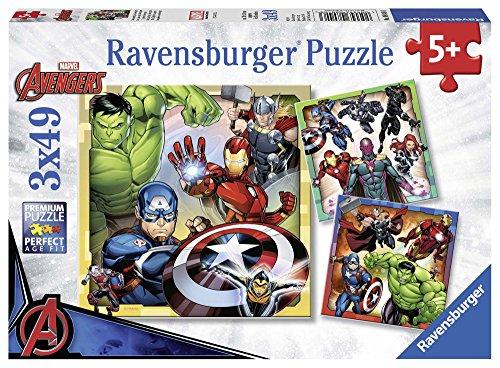 Ravensburger 8040 Marvel Avengers Assemble 3 x 49 Teile Puzzle für Kinder ab 5 Jahren, 0