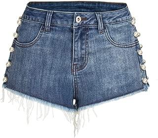 LUKEEXIN Women's Mid Rise Pearl Frayed Raw Hem Denim Shorts Jeans