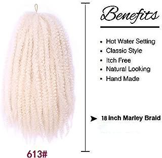 18 inch Afro Kinky Curly Bulk Twist Hair Crochet Braids Marley Braid Hair Extension Senegalese Twist Crochet Braiding Hair Ombre Bouncy Kinky Curly Twist Synthetic Crochet Braids 100g(18inch 613)