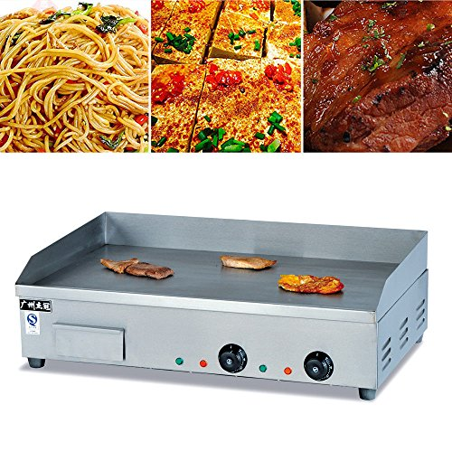 Gastronomie Grillplatte Grill Bratplatte Griddleplatte Griddle Grillplatte Tischgrill (4400 W, 73x50 cm, 50-300°C, glatt, Gehäuse aus Edelstahl)