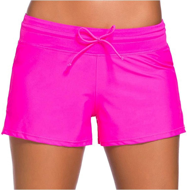 Womens Side Split Waistband Swim Shorts with Panty Liner Plus Size Swimsuit Shorts Tankini Swim Briefs