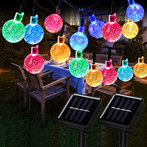 Solar String Lights Outdoor, 60 LED 36FT String Lights 8 Modes Crystal Ball Waterproof Solar Powered String Lights for Christmas, Home, Garden, Yard, Porch, Tree, Party, Holiday Decoration (2 Pack)