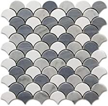 Difalrt Carrara White Italian Bianco Carrera Thassos Latin Blue Fish Scale Marble Mosaic Tile Pack of 5