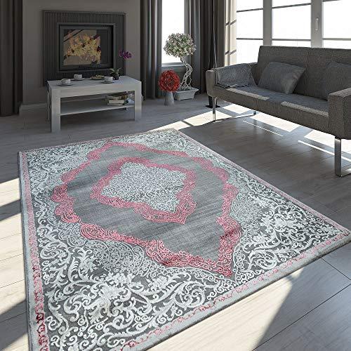 Paco Home Orient Teppich Modern 3D Effekt Meliert Schimmernd Ornamente In Grau Rosa, Grösse:160x230...