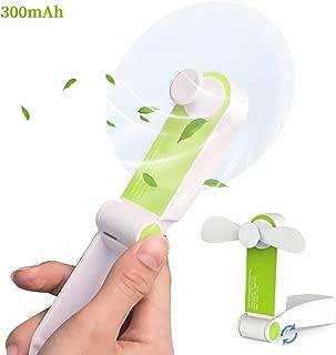 AUDIIOO Mini Handheld Fan USB Rechargeable - Portable Folding Fan Pocket Size Little Fan Lightweight Quiet Personal Fan 2 Adjustable Wind Speed for Office Home Workplace Travel Bus Subway (Green)