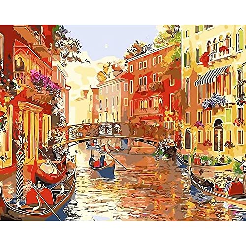 Pintura sin marco por números pintura de paisaje de Venecia por número pintura acrílica para colorear decoración del hogar arte A8 40x50cm