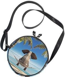 Ahomy Damen Umhängetasche 3D Elefant Hängematte Strand Meer Palme Kreis Telefon Taschen Mini Kuriertasche Geldbeutel