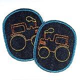 Knieflicken Traktor Jeans Flicken 10 x 8 cm Buegelflicken 2 Aufbügler für Jungs Bügelbilder bunt auf blau Hosenflicken zum aufbügeln Applikationen für Kinder patches, als Aufnäher verwendbar