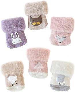 Calcetines cálidos para recién nacido, 6 pares de calcetines de invierno para recién nacido, cálidos calcetines de invierno para niños, gruesos, unisex, cómodos, aptos para 0 – 12 meses