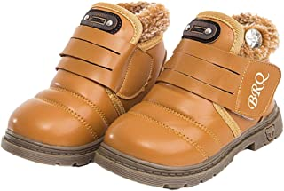 Hopscotch Baby Boys and Baby Girls PU Furry Ankle Boots in Tan Color