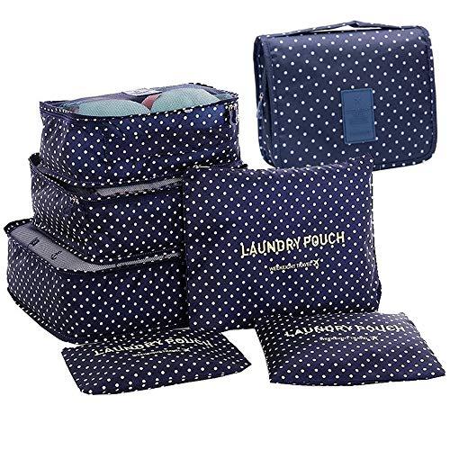 GCBTECH Set de 7 Organizadores de viajes cubo de viaje Bolsas de compresión de equipaje, Viajar Bolsas de aseo, bolsa de cosmético del maquillaje portable - Azul oscuro