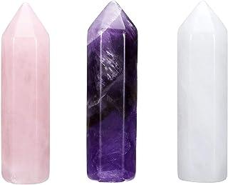 Jovivi amatista cristal de roca, piedra en bruto, piedra natural, piedras preciosas, columna, cristal pulido, varita hexag...