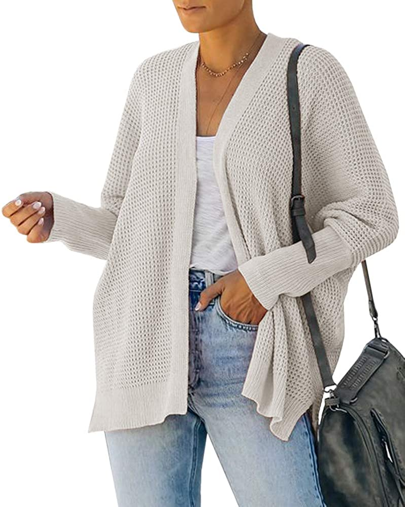 Womens Plus Size Knit Batwing Sweaters Long Sleeve Open Front Kimono Cardigans Casual Chunky Outwears