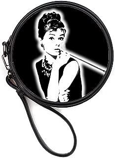 Fashion Leather Female Round Makeup Bag Cosmetis Case Handbags with Wristlet Strap Audrey Hepburn Print