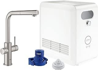 GROHE 31608DC2 Blue Professional Kitchen Faucet Starter Kit, SuperSteel InfinityFinish