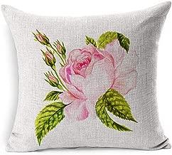 Ahawoso Linen Throw Pillow Cover Square 20x20 Watercolor Bouquet Beautiful Vintage Rose Sweetbrier Botanical Floral Pink Morris William Antique Autumn Beauty Pillowcase Home Decor Cushion Pillow Case