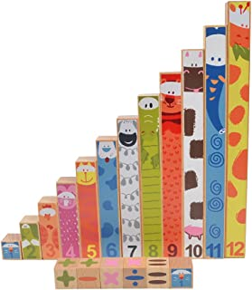 BOHS Wood Rainbow Montessori Number Rods - Visual Math Concepts - Counting,Addition,Subtraction ,Fraction - Preschool Learning Manipulative Toys (2CM-24CM)- Ages 3 & Up