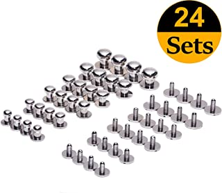 Mmei Set of 24 DIY Solid Brass Button Studs Cap Rivets Nail Heads Spike for Leather Craft Belt Purse Handbag and More, 4pcs for Each Size (2/5''+1/3''+3/8''+2/7''+1/4''+1/5'') (Silver)