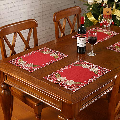 "Christmas Placemats Set of 6,Embroidered Poinsettia and Holly Holiday Table Decorations for Dining Table,12""x17"",Burgundy"