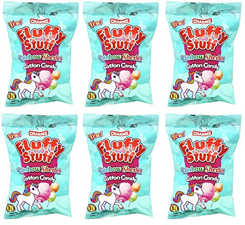 Charms Fluffy Stuff Rainbow Sherbet Cotton Candy 2.1 Ounce Bags (Pack of 6) – Peanut Free, Gluten Free, Fat Free, Sodium Free and Cholesterol Free