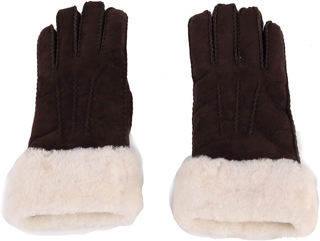 Ranking TOP9 URSFUR Unisex Long Cuff Sheepskin Chicago Mall Lining Fur Gloves with Wool